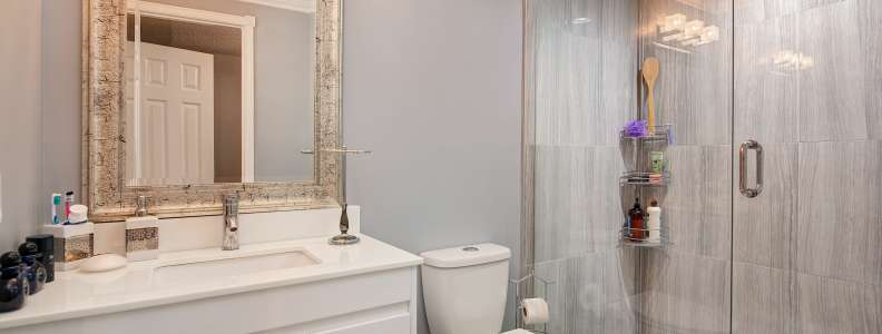 Bathroom interior with shower