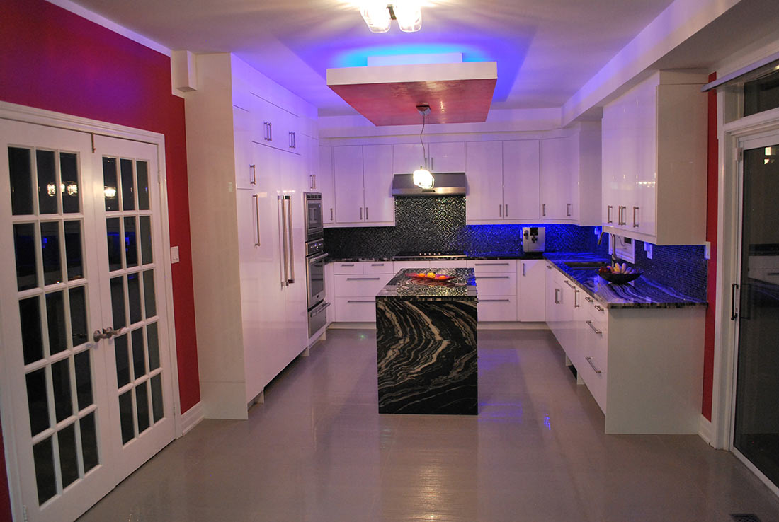 fully renovated kitchen with led lighting